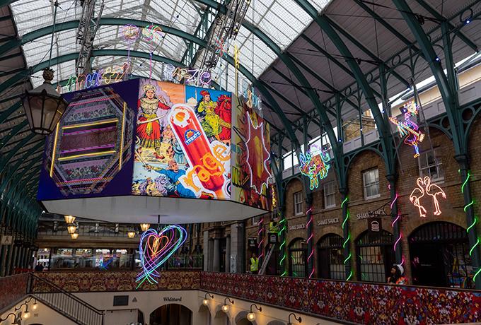 Covent Garden's historic market becomes a neon wonderland